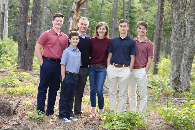 Mary Warzynski with her four sons and husband. Pictured, from left: Luke, Sean, Gary, Mary, Ryan and Thomas.