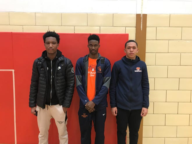 Overbrook's Jaylan Hornsby, left, David Haywood, center, and Devon Johnson played key roles in the Rams' 60-40 victory over Penns Grove on Saturday.