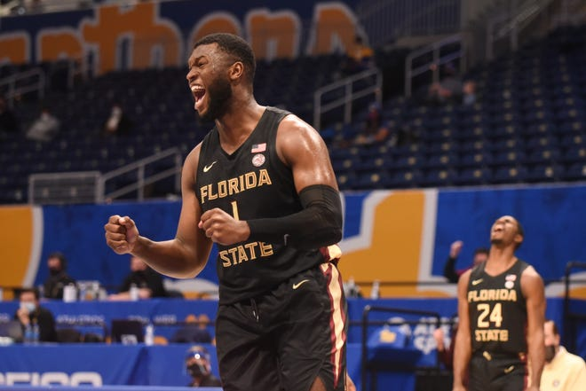Forward RaiQuan Gray (1) celebrates during Florida State's 79-72 victory at Pittsburgh's Petersen Events Center in Pittsburgh, PA., on Feb. 20, 2021.