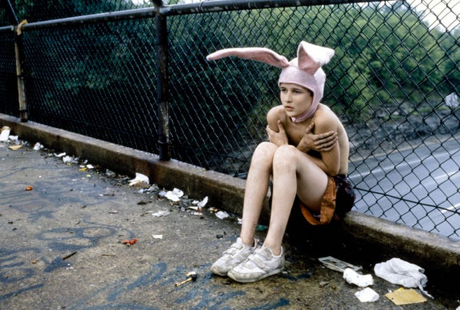 "Bunny Boy sitting on an overpass in Xenia, OH, in ""Gummo."""
