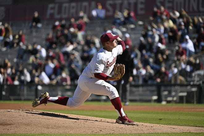 Parker Messick throws a pitch during Florida State's opening day 7-4 loss vs. UNF at Dick Howser Stadium in Tallahassee, FL., on Feb. 20, 2021.