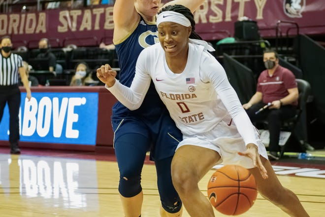Florida State guard Bianca Jackson drives to the basket during the Seminoles' 62-48 loss vs. the Georgia Tech Yellow Jackets at the Donald L. Tucker Civic Center in Tallahassee, FL., on Feb. 18, 2021.