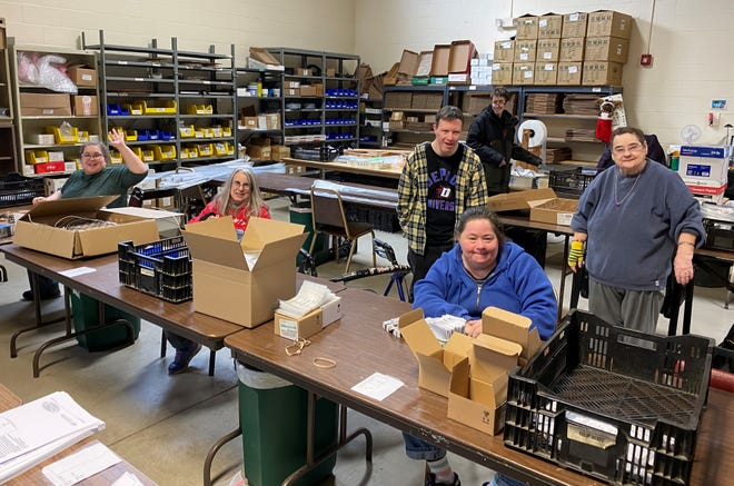 Nadene, Terri, Craig, Dan, Kristen and Jeanne, from left, wrap up their work day (9 a.m. to 3 p.m.) at Sunshine Resources of Door County. Sunshine Resources and Kewaunee County-based East Shore Industries are exploring possible partnerships to better serve their clients' needs.