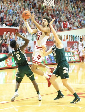 Indiana's Trayce Jackson-Davis scored 34 points against the Spartans on Feb. 20, but only three of them came while Thomas Kithier was defending him.