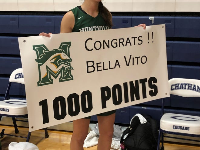 Montville senior guard Bella Vito scored her 1,000th career point on Saturday at Chatham. She sank a 3-pointer off a pass from her twin sister, Dani Vito.