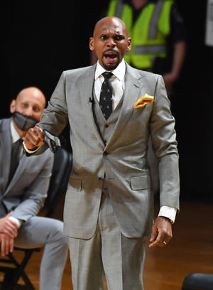 Feb 17, 2021; Nashville, Tennessee, USA; Vanderbilt Commodores head coach Jerry Stackhouse reacts from the bench during the second half against the Kentucky Wildcats at Memorial Gymnasium. Mandatory Credit: Christopher Hanewinckel-USA TODAY Sports