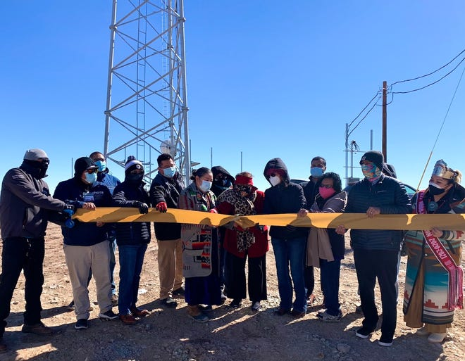 Navajo Nation leaders and Navajo Tribal Utility Authority officials recognized on the completion of a new NTUA Choice Wireless tower on Feb. 18 in Beclabito.
