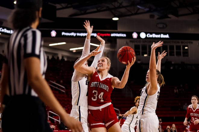 Hannah Sjerven goes up for a shot against Oral Roberts on Feb. 20, 2021 at the Sanford Coyote Sports Center in Vermillion.