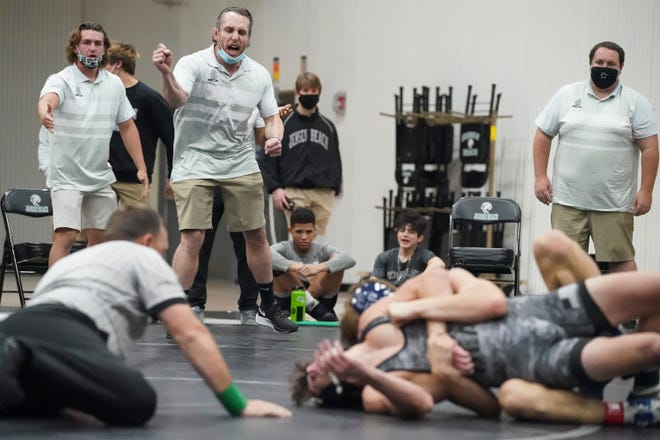 Jensen Beach High School hosts the District 13-1A wrestling championship on Friday, Feb. 19, 2021, in Jensen Beach. Jensen Beach, Lincoln Park Academy, Clewiston and American Heritage competed.