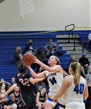 Maysville's Bailee Smith drives for a layup in Saturday's Division II sectional final against Indian Valley. Smith was voted to the Division II All-Ohio team by the OPSWA.