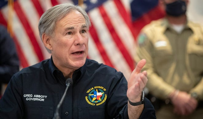 Texas Gov. Greg Abbott speaks about the winter storm during a press conference at the State Operations Center, Feb. 18, 2021, in Austin, Texas.