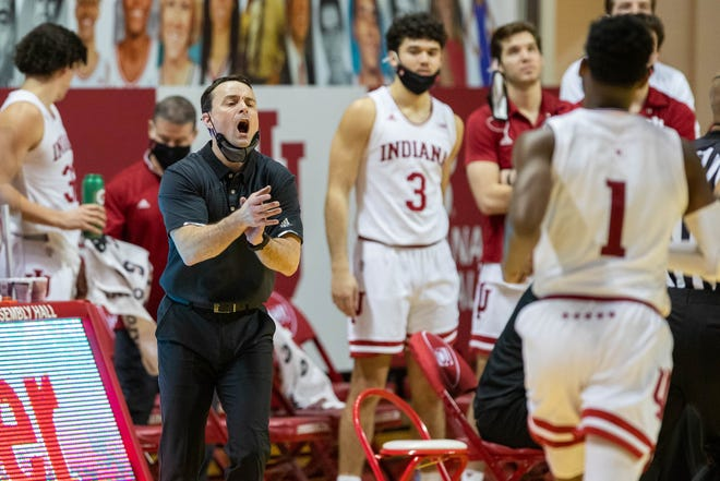 Indiana Hoosiers head coach Archie Miller reacts on the sideline in the second half against the Michigan State Spartans at Simon Skjodt Assembly Hall.
