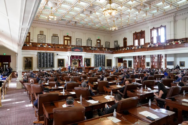 Opening ceremonies in the Texas House as the 87th Legislature gets down to work on January 12, 2021.