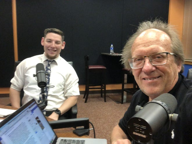 Dr. Lee Stitzel, left, interviews West Texas A&M University marketing professor Dr. Nick Gerlich for an episode of the EconBuff podcast. Stitzel has relied mostly on the faculty of the Paul and Virginia Engler College of Business for their expertise. But he also has had guests from other universities as well as from Amazon.