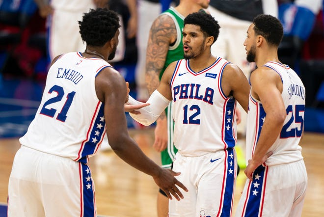 The Sixers' Joel Embiid, 21, and Tobias Harris, 12, have improved offensive numbers across the board compared to last season.