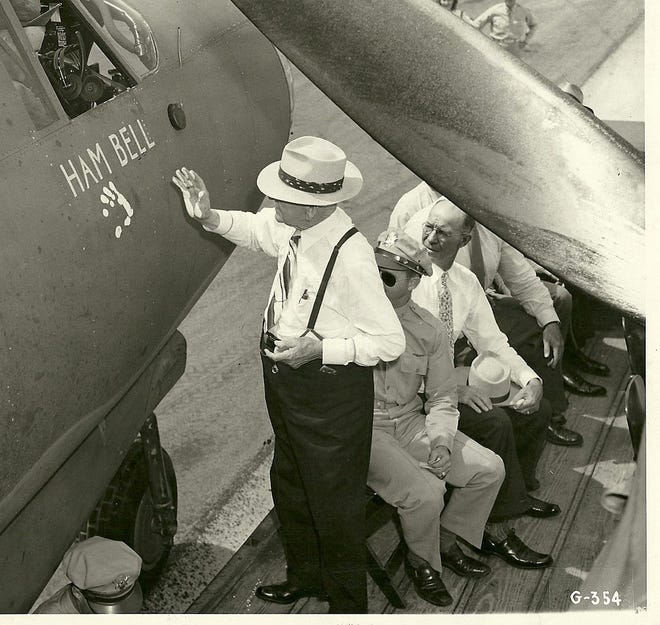 "H.B. ""Ham"" Bell dedicating an airplane in the 1940s."
