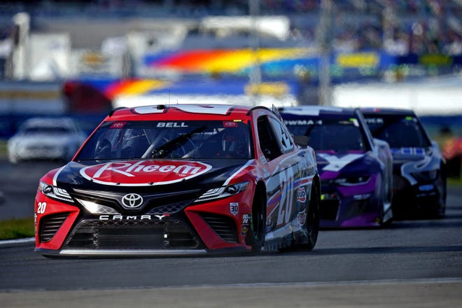 Feb 21, 2021; Daytona Beach, Florida, USA; NASCAR Cup Series driver Christopher Bell (20) during the O'Reilly Auto Parts 253 at Daytona International Speedway.