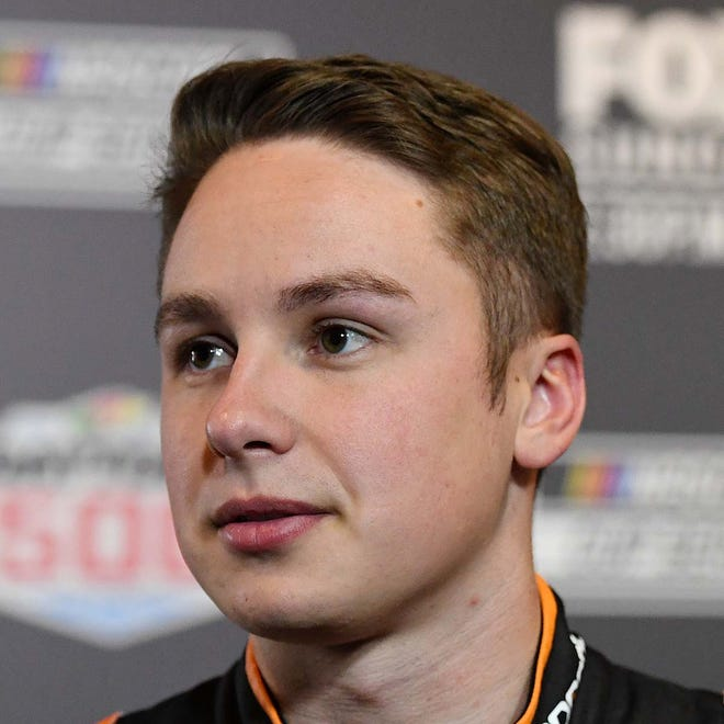 Feb 12, 2020; Daytona, FL, USA; NASCAR Christopher Bell (95) addresses the media during NASCAR Media Day at the Daytona 500 Club.