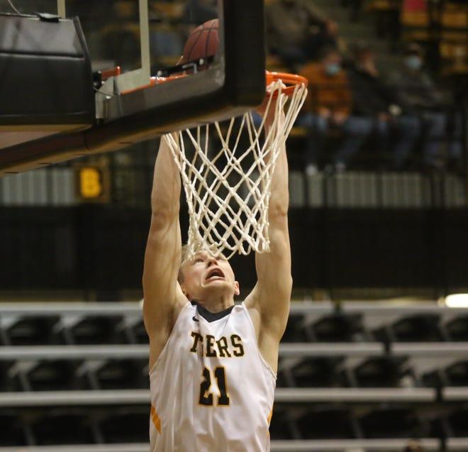 FHSU's Jared Vitztum throws down a dunk on Saturday against Central Missouri.