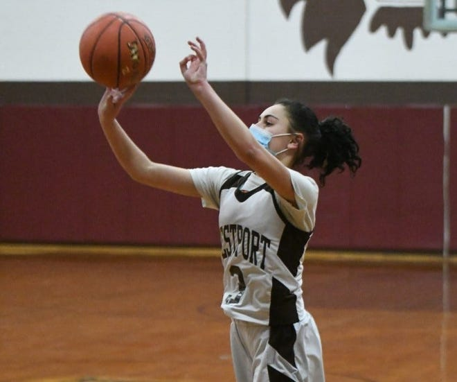 Westport's Koryne Holden shoots a three-pointer during a recent game this season.