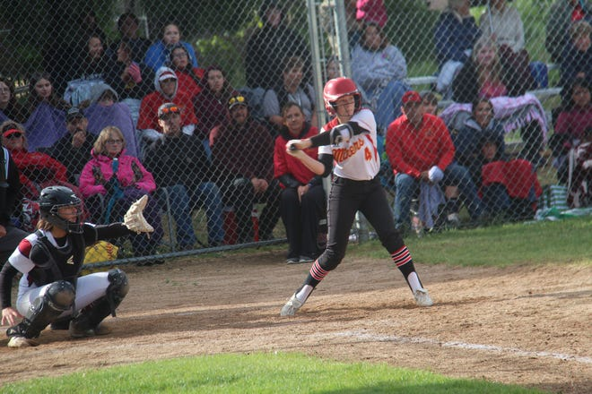 The Yreka High softball team, during a game in 2019, is expected to begin practices again soon.