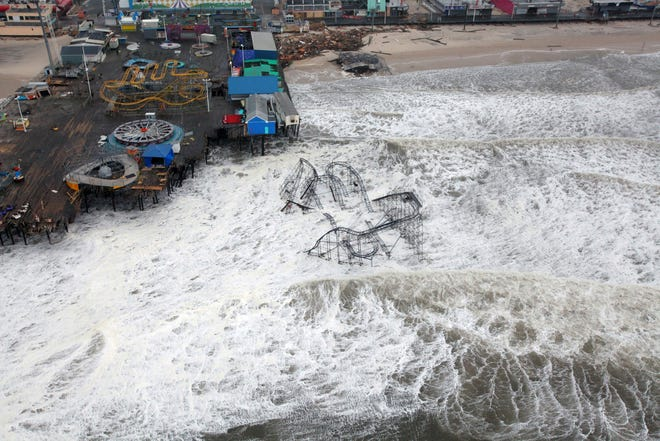 Superstorm Sandy submerged this roller coaster from the Seaside Heights amusement park on the New Jersey shore in 2012