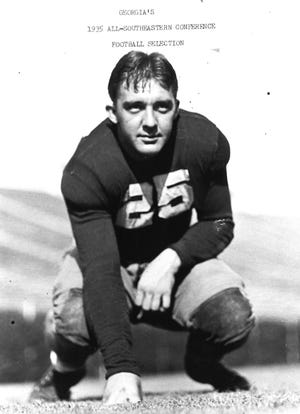 Rockford's Frank Johnson is shown here at the University of Georgia in 1935. While he was a football standout, he also excelled at basketball and eventually became the second-winningest basketball coach all-time for the University of South Carolina.