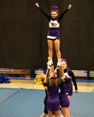 Kansas Wesleyan Cheer Team competes at the KCAC Championship Competition at Bethany College.