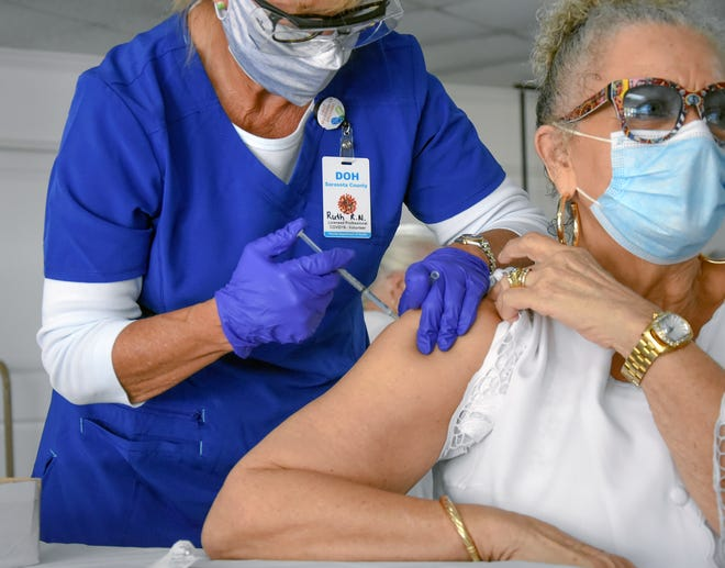Carol Cooper of Sarasota receives a COVID-19 vaccination from nurse Ruth Brown during a Feb. 21 vaccination clinic at Light of the World International Church. Brown, a retired nurse from Ohio and a snowbird, was licensed in Florida so that she would be able to give COVID-19 vaccinations.