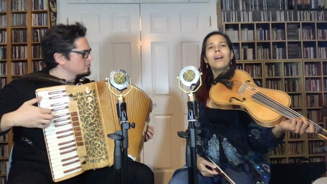 A screenshot from Saturday's live-streamed performance of Francesco Turrisi and Rhiannon Giddens presented by Music Worcester.