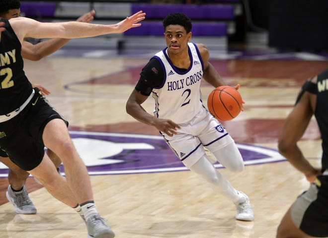 Bo Montgomery and the Holy Cross men's basketball team will host Loyola (Md.) in a Patriot League Tournament first-round game on Wednesday night.