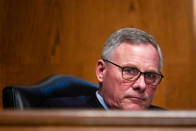 FILE - In this Feb. 4, 2021, file photo Sen. Richard Burr, R-N.C., listens during a Senate Health, Education, Labor and Pensions Committee hearing. Burr has said he will not seek re-election once his current term concludes. (Graeme Jennings/Pool via AP, File)