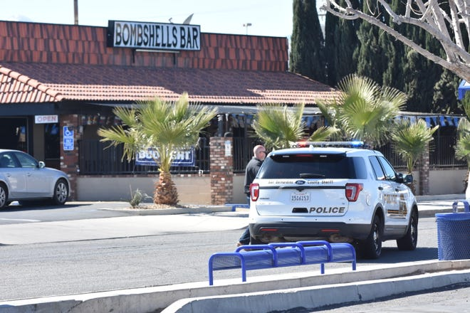 Authorities on Sunday morning, Feb. 21, 2021, conducted an investigation after a fatal stabbing in the parking lot of Bombshells Bar and Grill, 15863 Lorene Drive in Victorville.