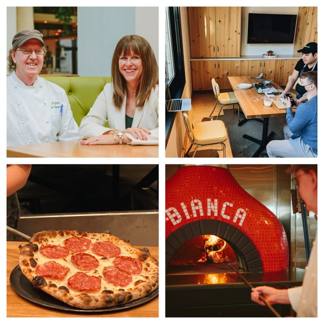 Top, left: Chef Tim and Nancy Cushman are seen inside their Chestnut Hill restaurant, Bianca. Top, right: two workers at Bianca teach an online cooking class. Bottom, left: a chef takes out a pizza from the oven at Bianca. Bottom, right: Chef Tim Cushman takes a pizza out of the oven.
