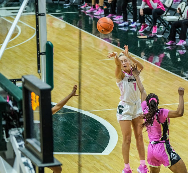 MSU's Tory Ozment (1) shoots a three-pointer at the buzzer for a comeback win over Purdue Sunday, Feb. 21, 2021.