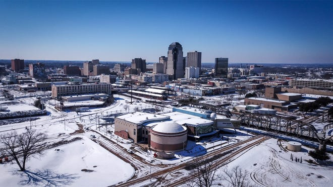Drone photos by Twin Blends of Shreveport February 20, 2021 when snow covered the ground.