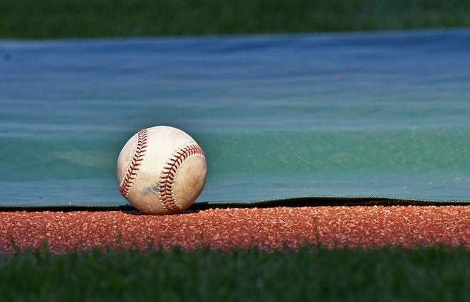 A general view of a baseball on the field prior to a game.