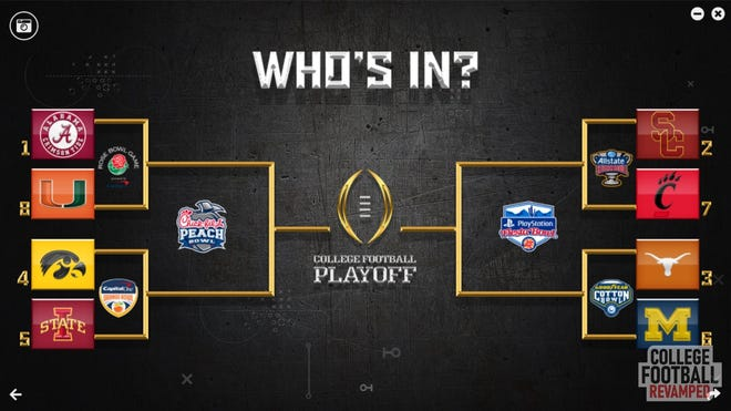 Players are able to download the College Football Playoff into their game, which can have four or eight teams.