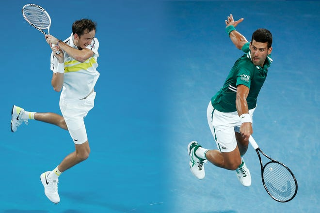 Daniil Medvedev, left, and Novak Djokovic (right) will face off for the 2021 Australian Open men's singles title.