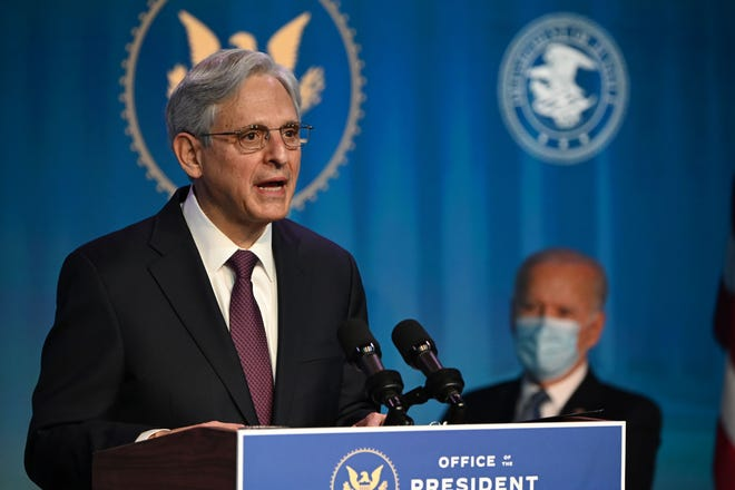 President-elect Joe Biden nominates Judge Merrick Garland to be his attorney general in January in Wilmington, Delaware. Garland is scheduled to testify at his Senate hearing on Feb. 22, 2021.
