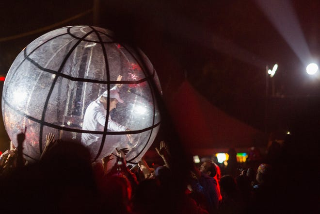 Diplo walks across the crowd in an inflated ball during a performance with Major Lazer at the second weekend of the 2016 Austin City Limits Music Festival at Zilker Park on Oct. 7, 2016.