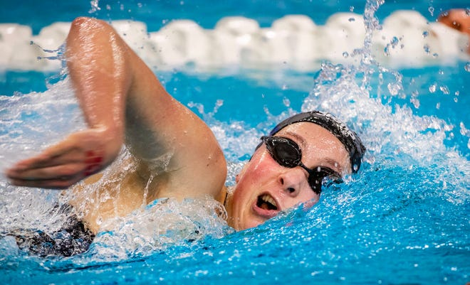 Liberal Arts and Science Academy junior swimmer Alex Watson, competing at the 2020 UIL State Swimming and Diving Championships, was part of the 400 freestyle relay team that won state gold.