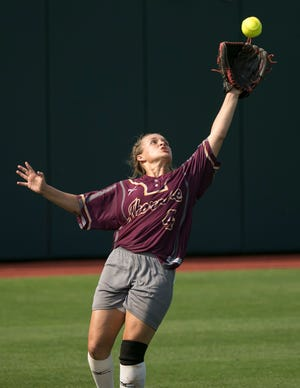 Thorndale left fielder Emilee Baker, catching a fly ball in a state playoff game against Crawford two years ago, was named all-state as a freshman. She has committed to play at Texas State.