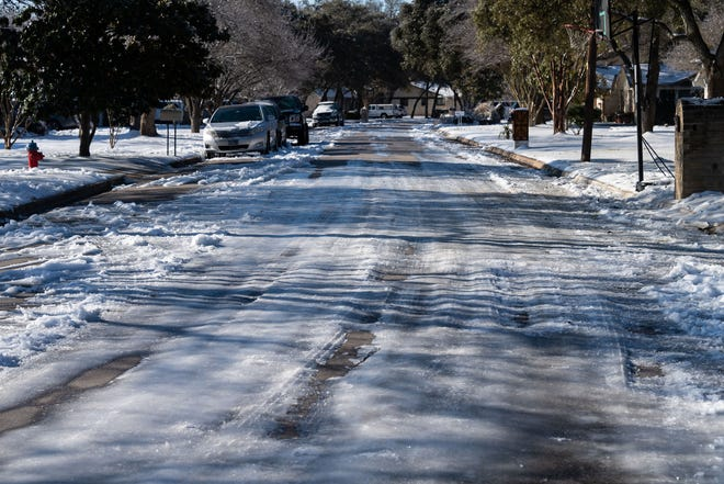 There was still plenty of ice in shady spots on Round Rock's residential streets on Friday after days of snow, ice and sub-freezing temperatures.