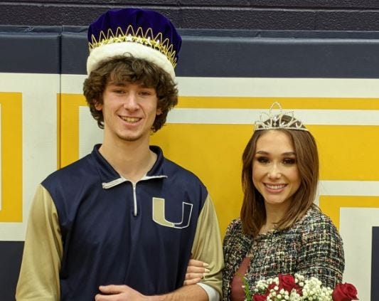 Keaton Baker and Stefani Thompson were named United Local High School's winter homecoming king and queen.