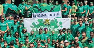 A group of Engineering students at an annual Class of the Colleges event.  Sierra Marie Bonn is an active member of the College of Engineering and is pictured, fourth from right, in front of the College of Engineering banner.