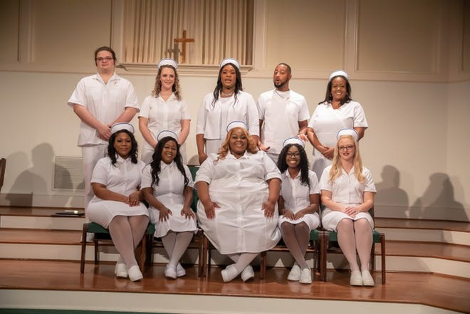 CHIPLEY - Florida Panhandle Technical College held graduation ceremonies for its Winter 2021 Practical Nursing Program Thursday, February 18, at Shiloh Baptist Church in Chipley. Graduates are (L-R): Top Row- Swade Corley, Courtney Redmon, Aleisha Bullock, Jimmy Williams-McAllister, and Pamela Barnes. Bottom Row- Victoria Hewitt, Te'a Smith, Adreyana Calhoun, Kanausha Oliver, and Ashley Sanders
