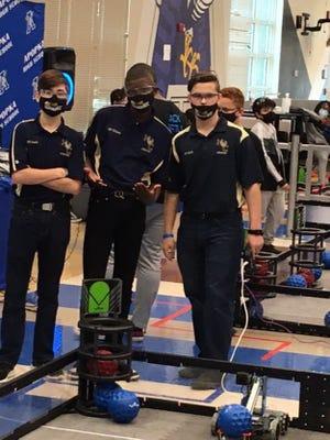 The HCHS JROTC Robotics Team includes Cadet Gavin Braddy, team programmer;Cadet Quindarius Williams, team builder/ designer;and Cadet Skyler Sapia, team driver.