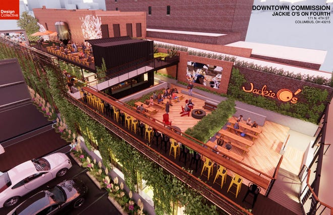 Plans for the outdoor patio at Jackie O's on Fourth Street in Downtown Columbus