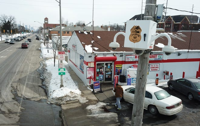 Columbus police surveillance cameras monitor numerous intersections around the city, such as this one outside a carryout at West Broad Street and Wheatland Avenue on the Hilltop.